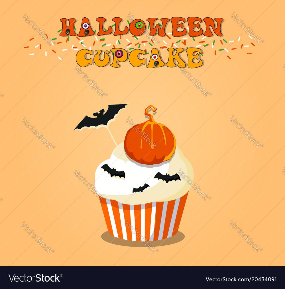 Cute happy halloween cupcake with pumpkin and