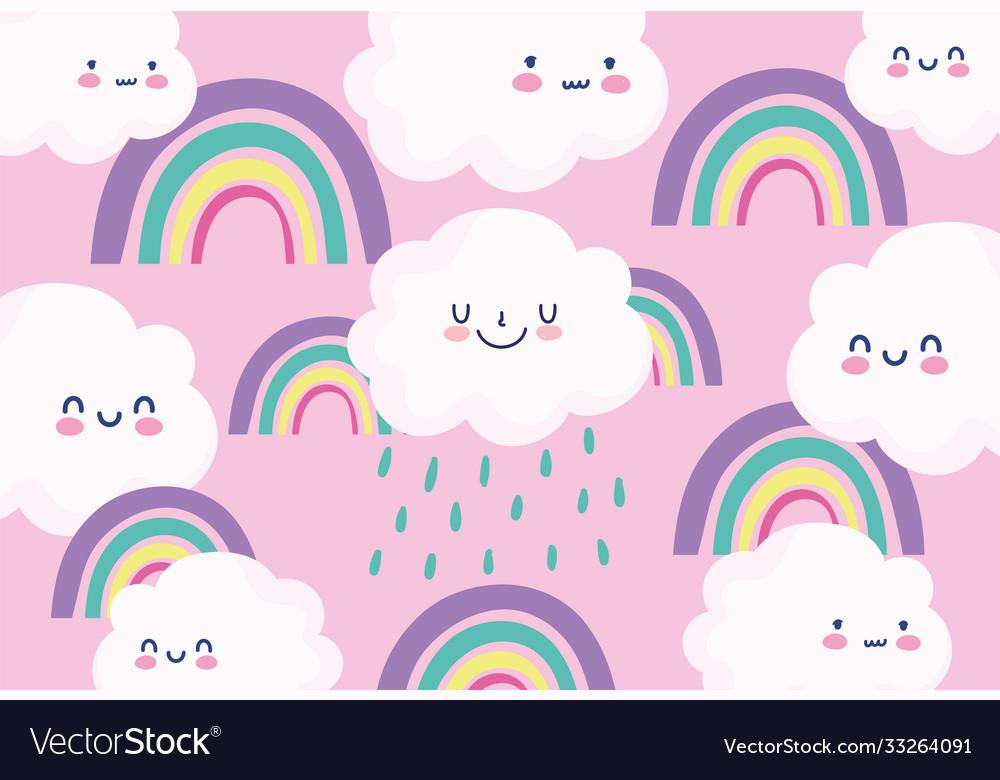 Cute rainbows clouds rain cartoon decoration pink