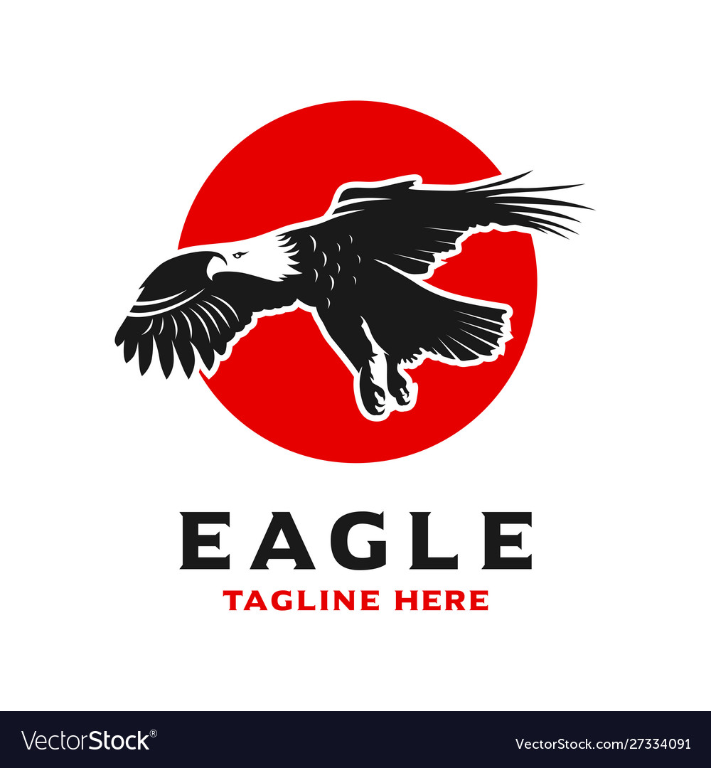 Eagle and circle logo design template