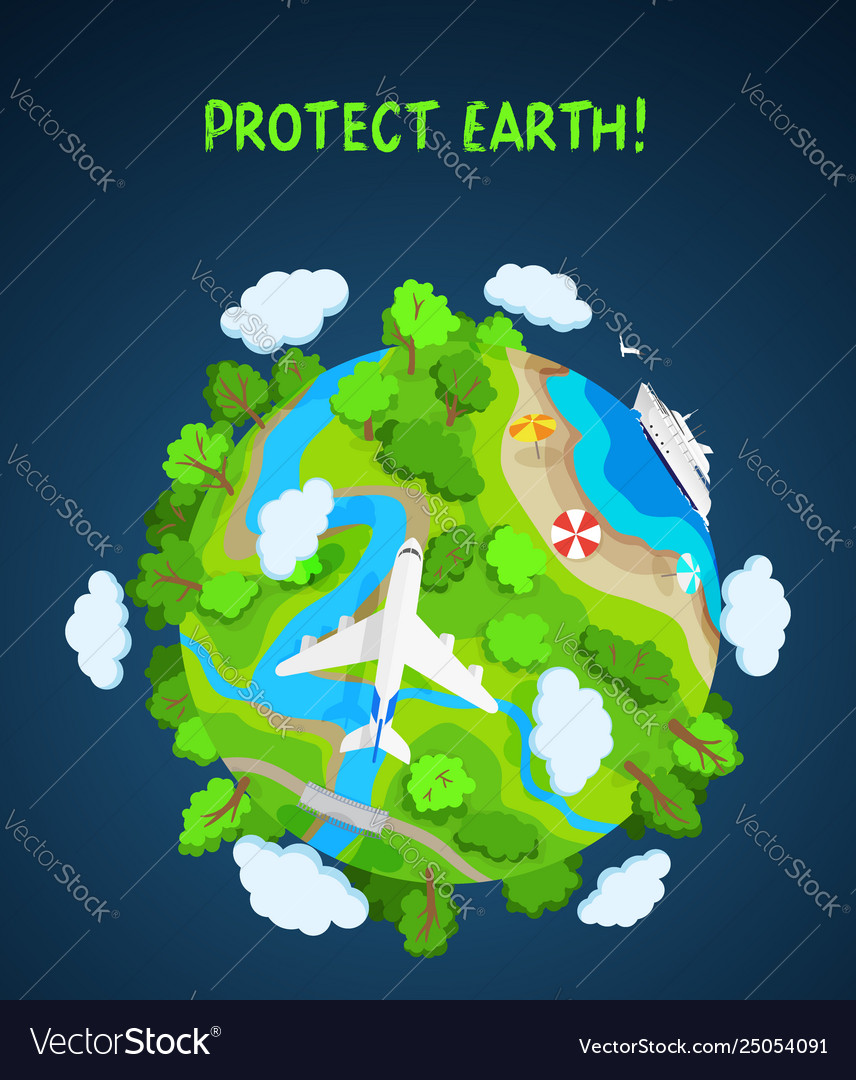 Earth protect concept planet globe with trees