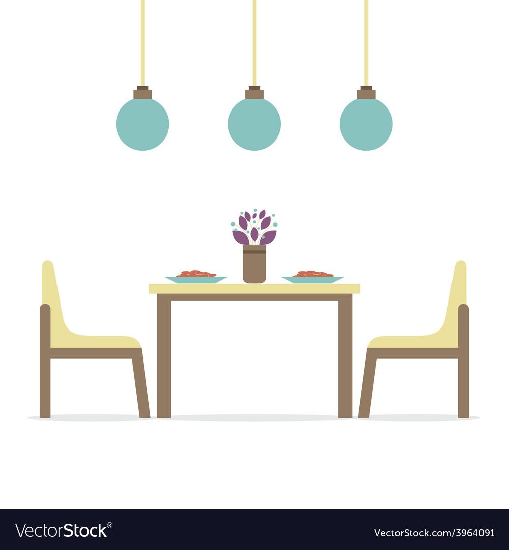Flat Design Interior Dining Room Vector Image