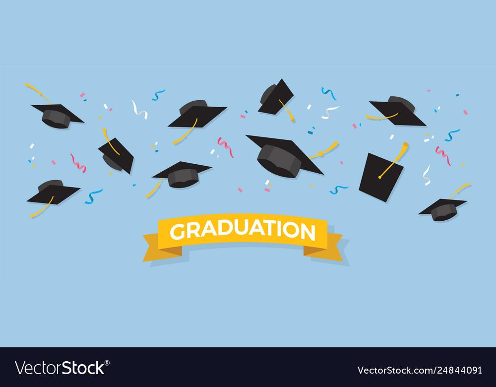 Graduating black caps up in air