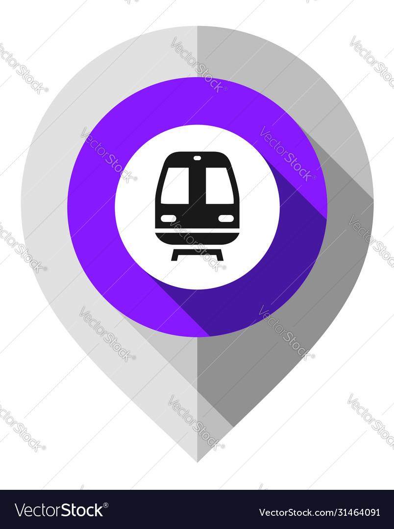 Map pin train symbol gps pointer folded from gray