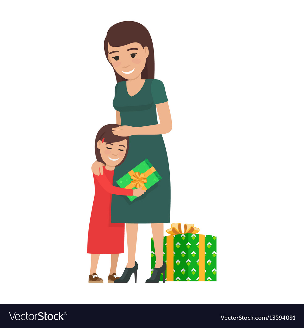 Mother and daughter share christmas presents vector image