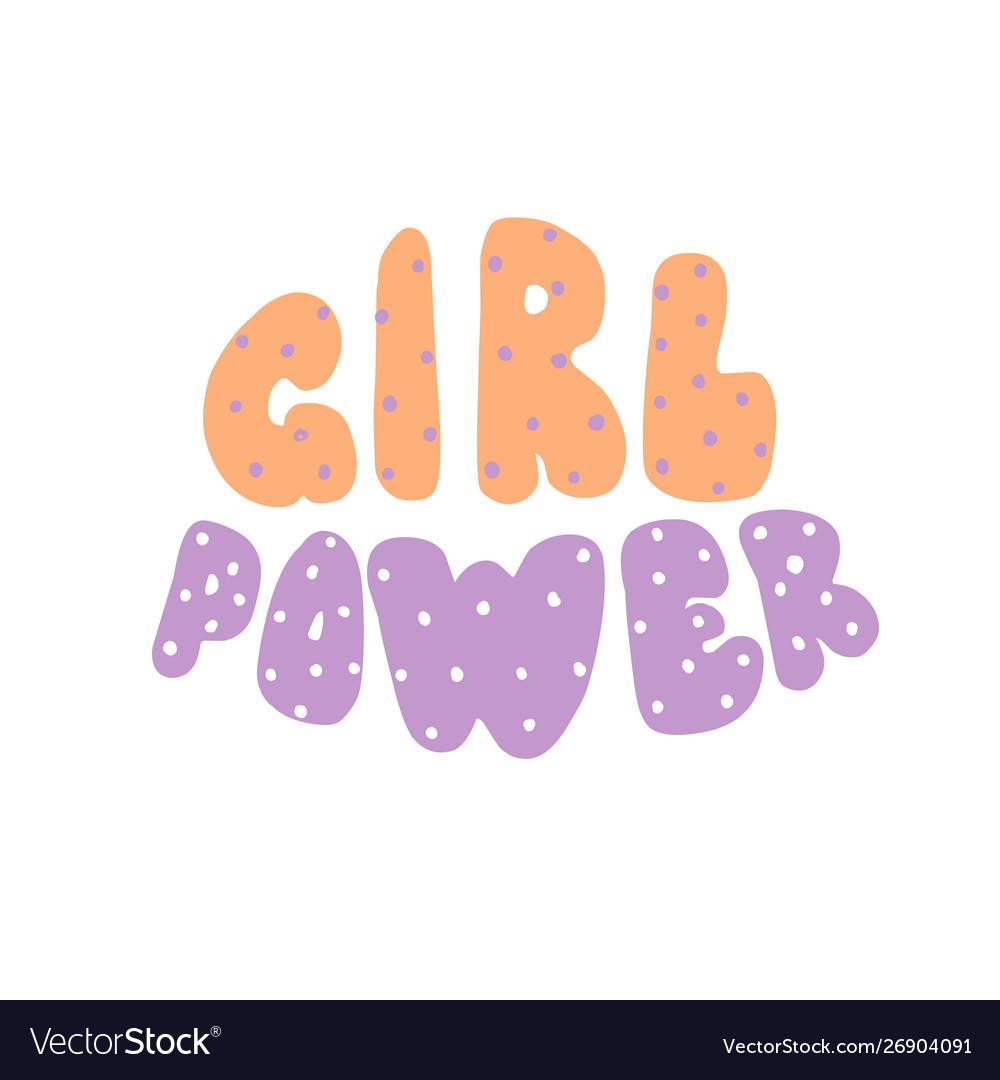 Power girl lettering inscription round cartoon