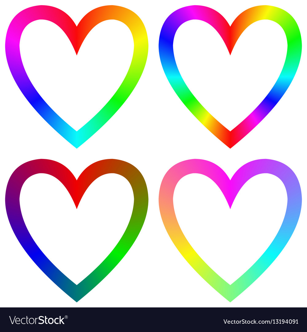 Rainbow gradient happy heart icon template set