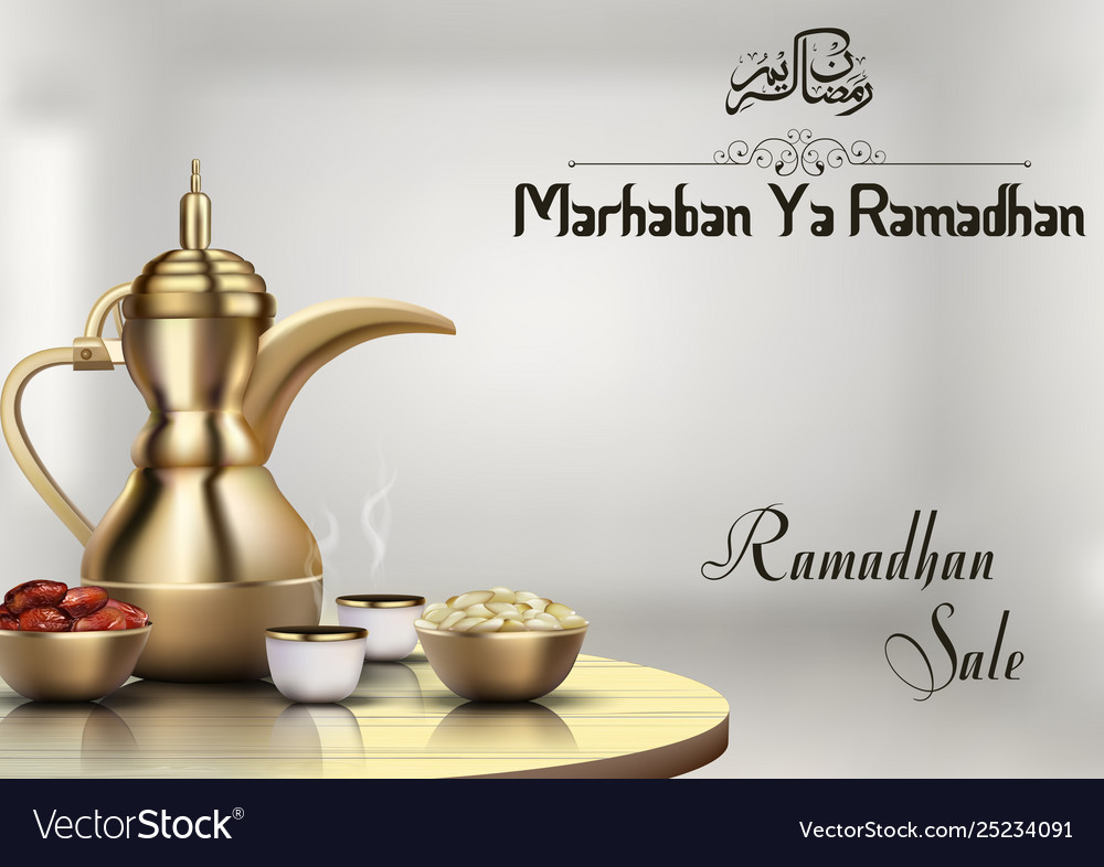 Ramadhan sale with traditional coffee pot and bowl