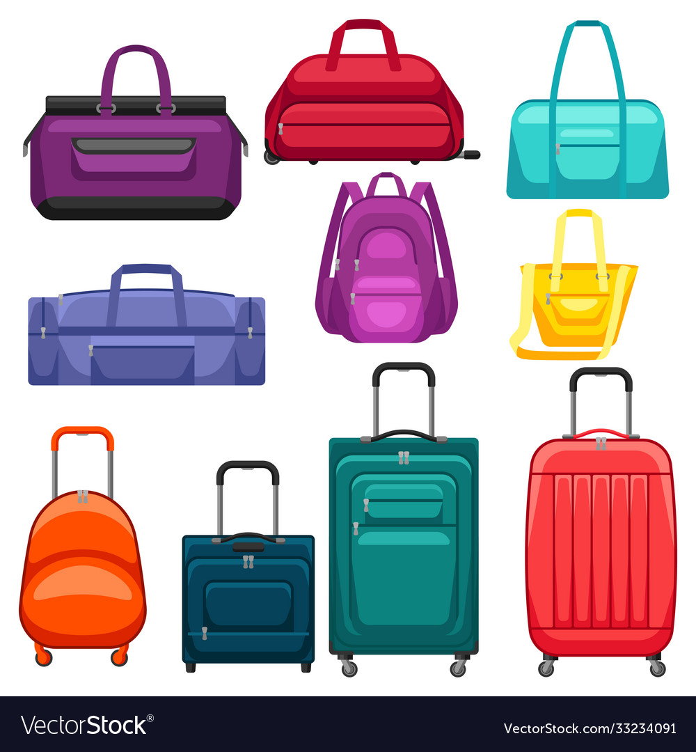 Set travel suitcases and bags