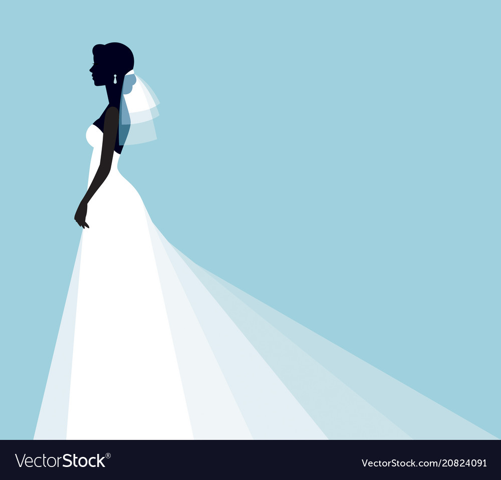 Silhouette portrait of a young bride in a profile