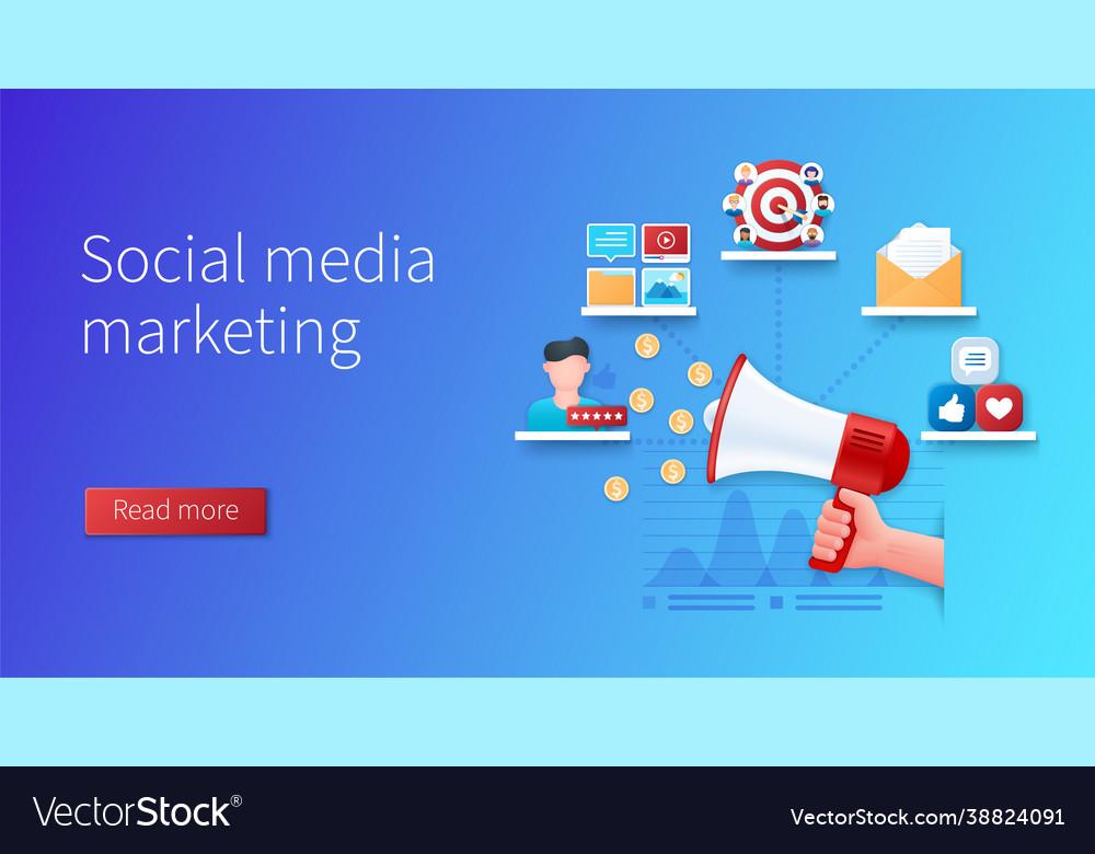 Social media marketing banner hand