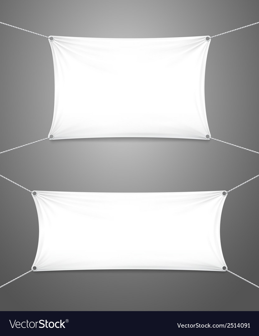 Two blank white banners with copyspace vector image
