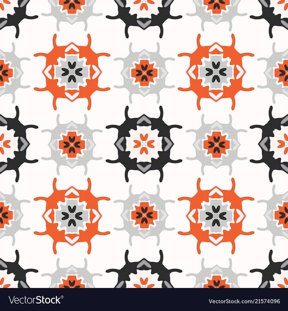 Abstract geo folk art grid orange and white