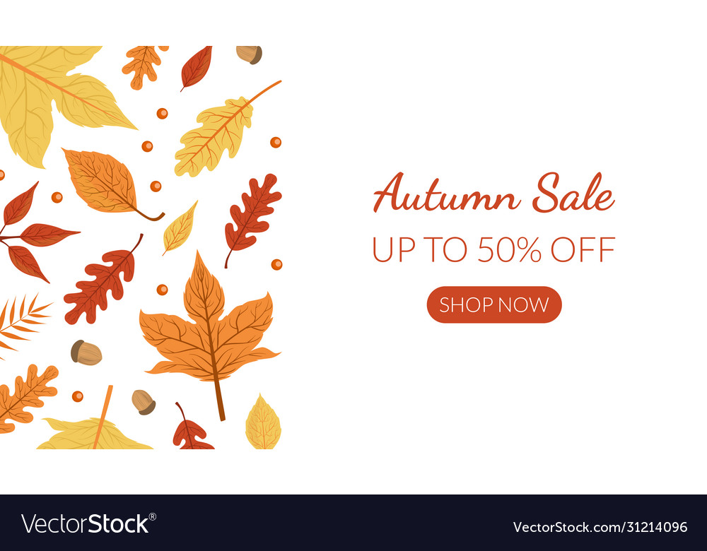Autumn sale landing page template with bright