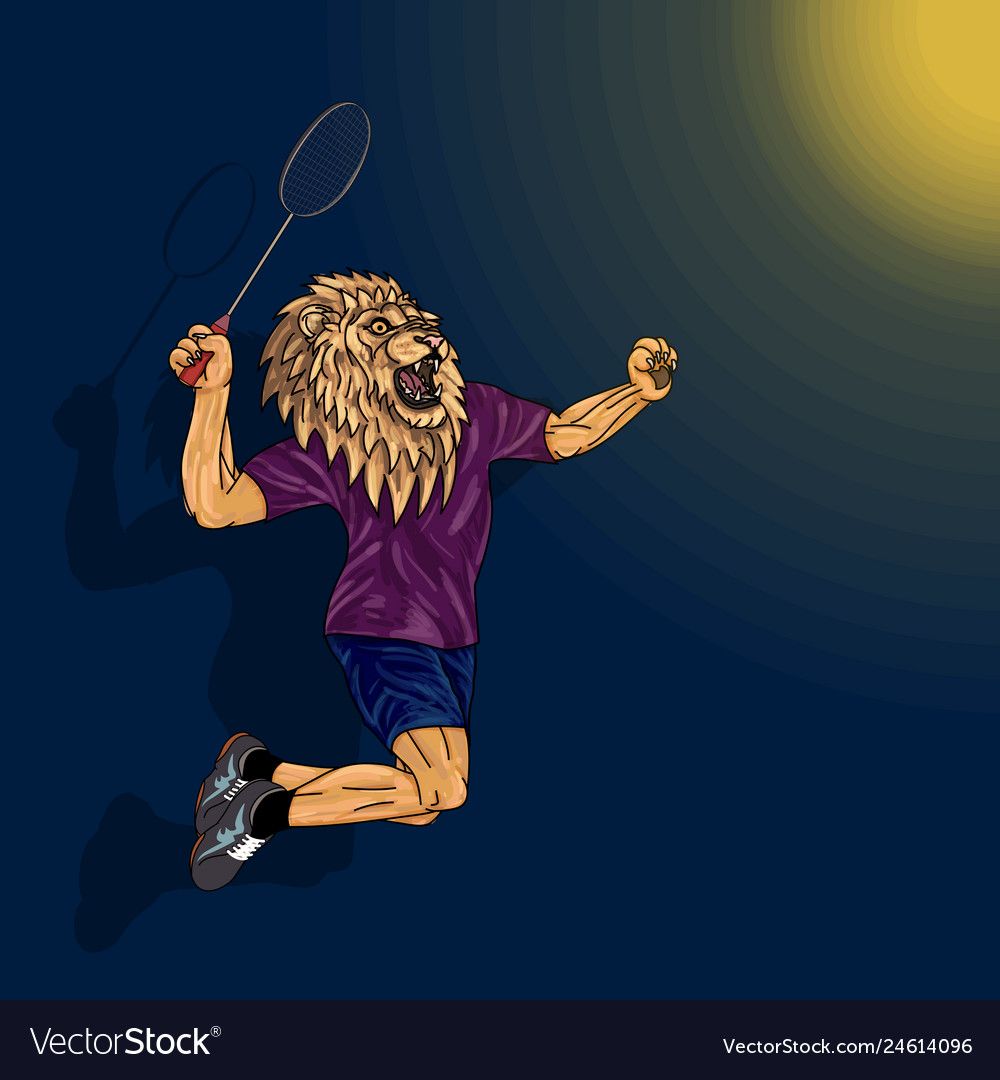 Badminton player lion in human body jumping to