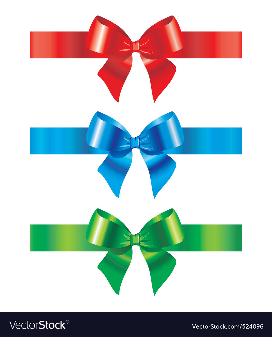bow and ribbon set of design royalty free vector image