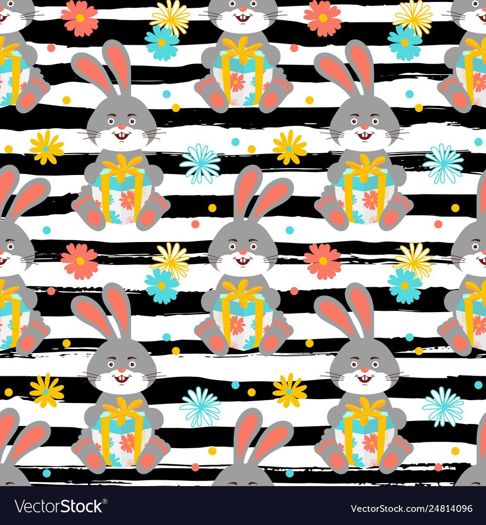 Cartoon bunny pattern cute rabbit holds a gift