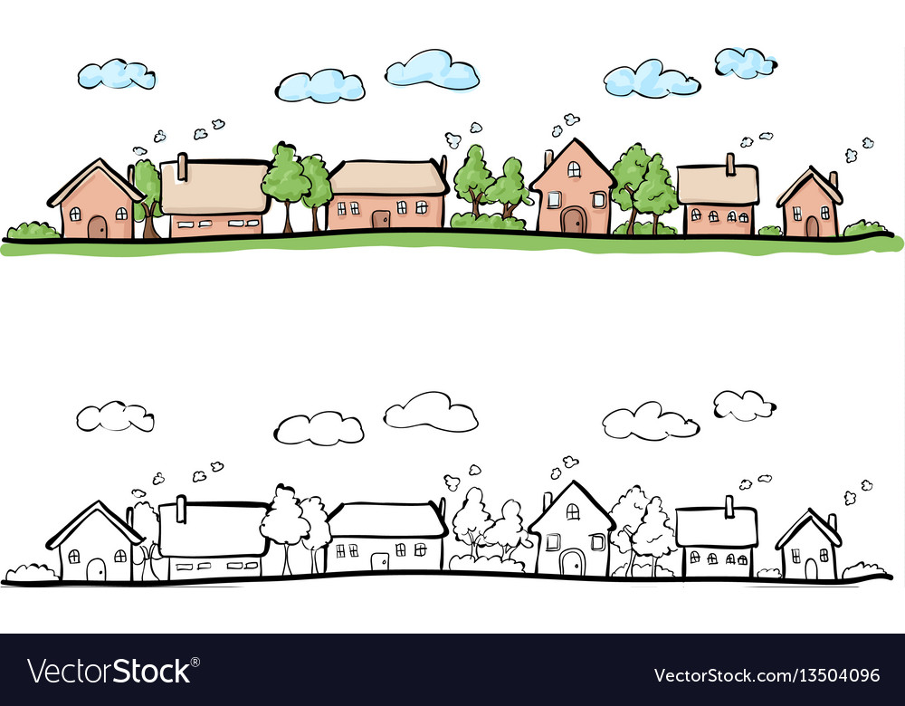 Cartoon hand drawing of small town