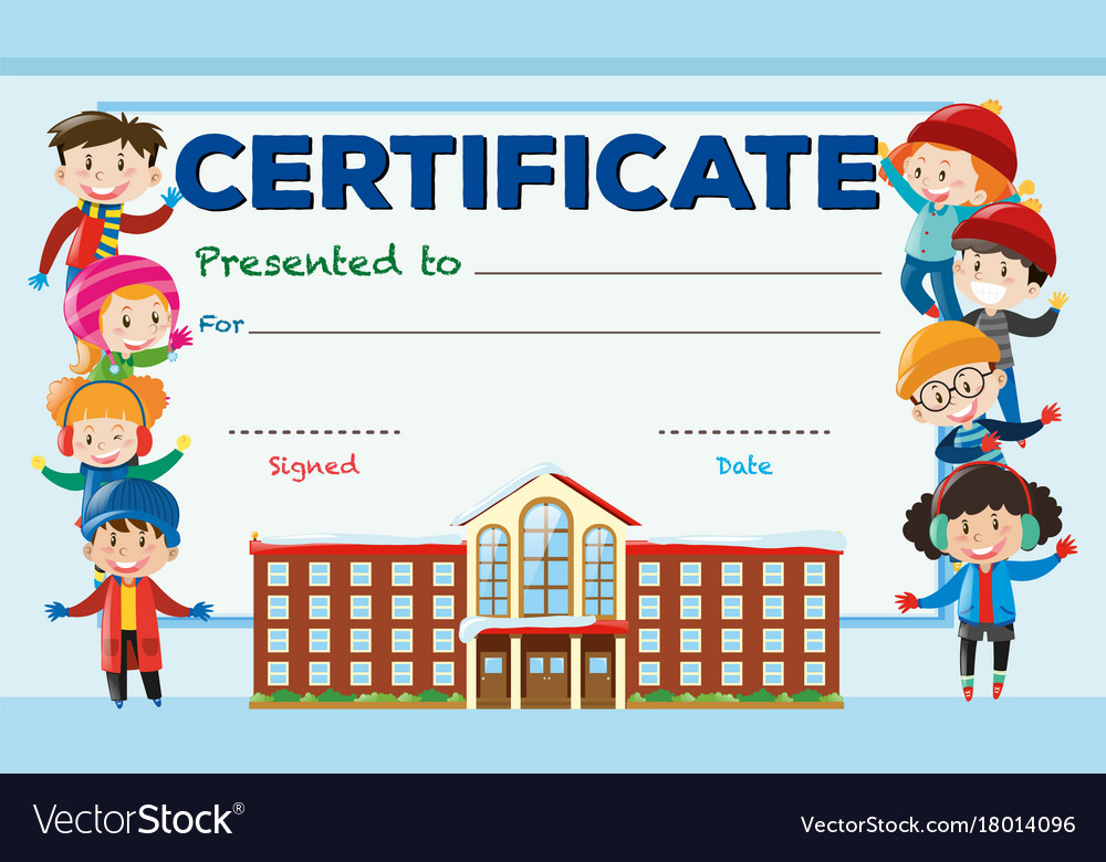 Certificate Template With Kids And School Building