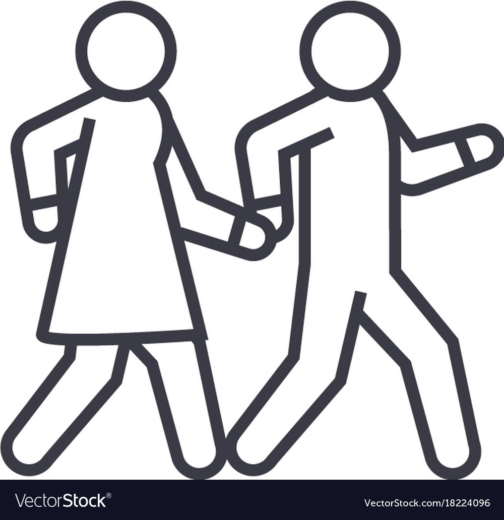 Couple walks holding hands together linear icon