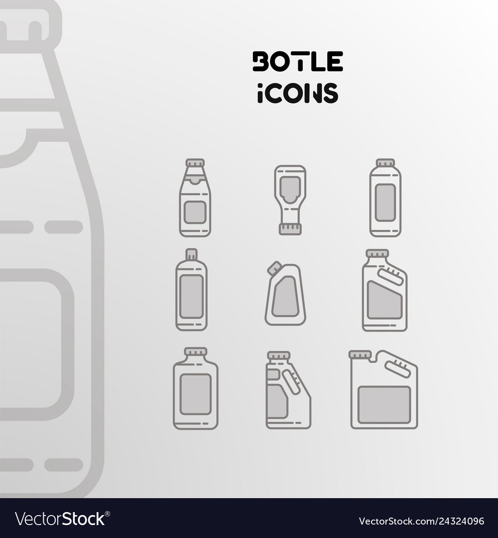 Design of linear icons of bottles cans and