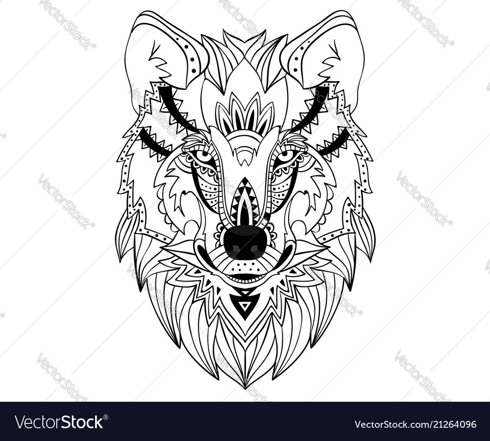Ethnic hand-drawn wolf face