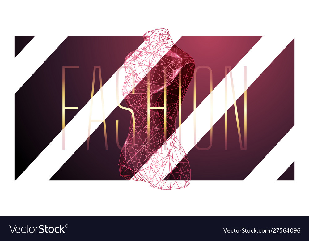 Fashion low poly wireframe banner template