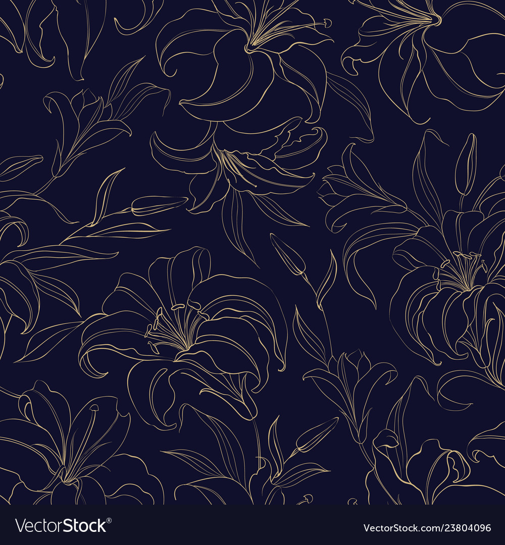 Floral seamless pattern with gentle lily flowers