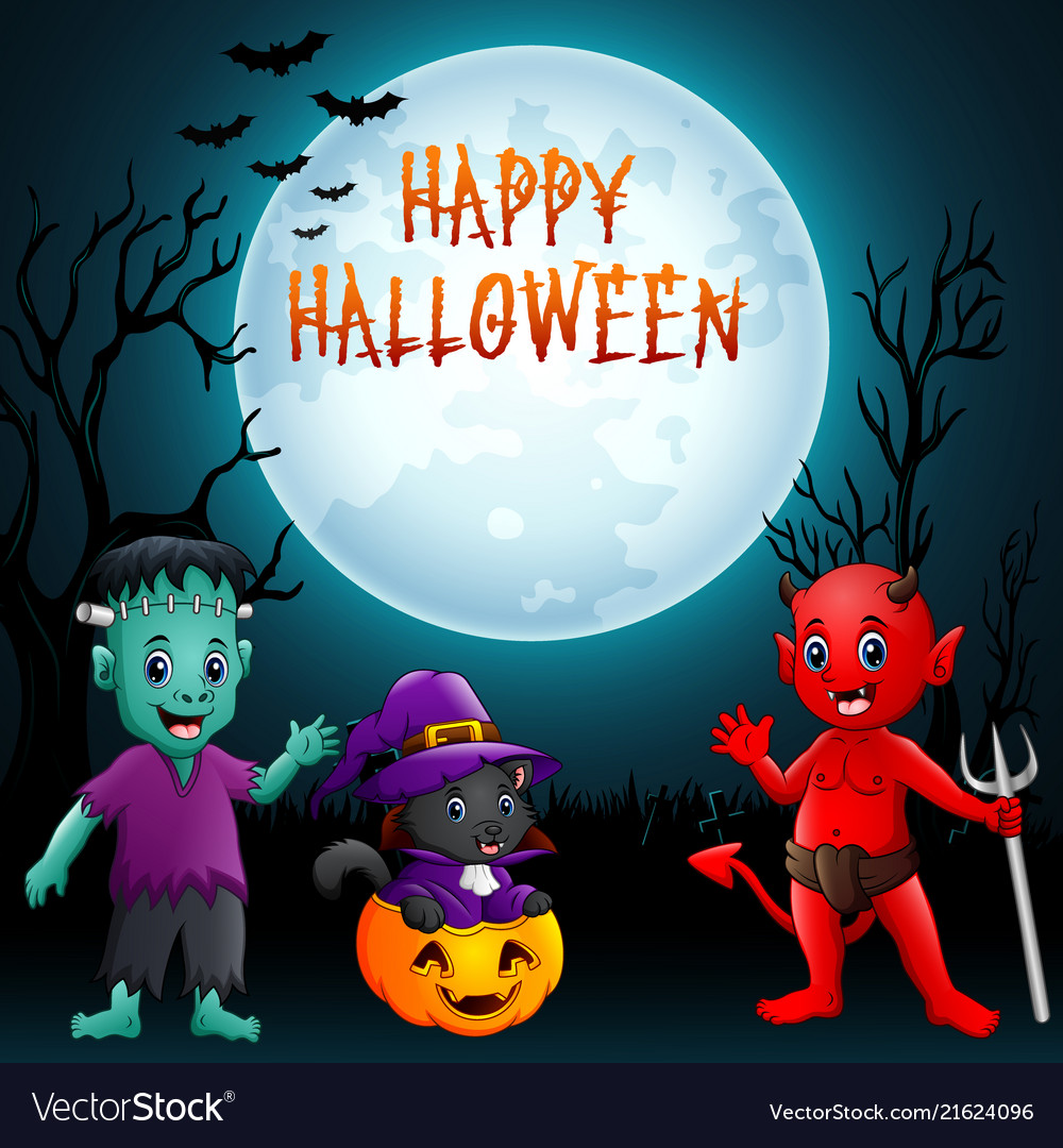 Halloween background cute little kids with costum
