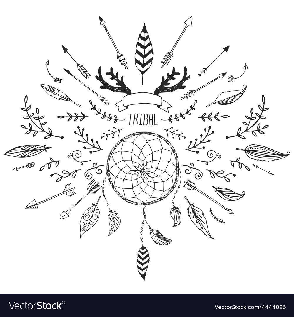 Hand drawn tribal collection with bow and arrows vector image