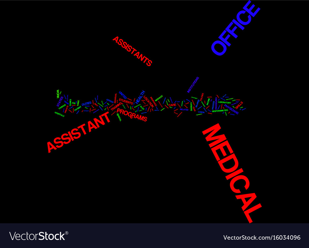 Medical Office Assistants Text Background Word Vector Image