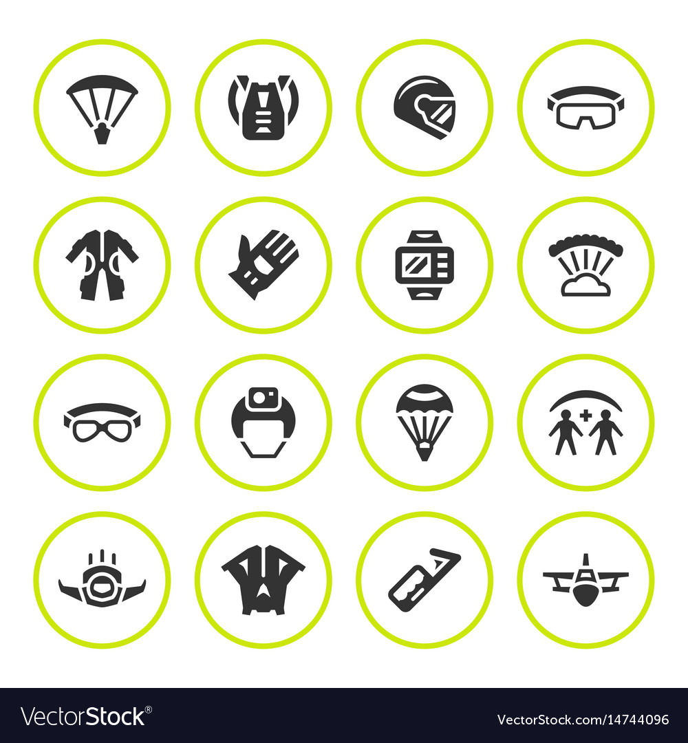 Set round icons of parachute vector image