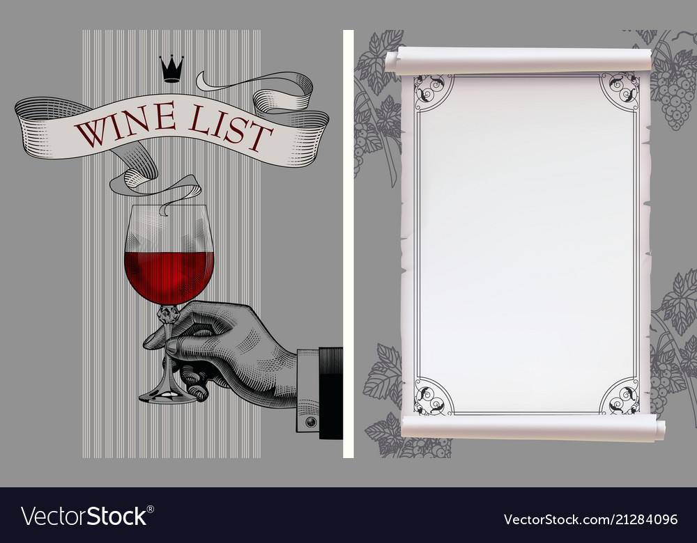 Wine list with hand holding a wineglass and old