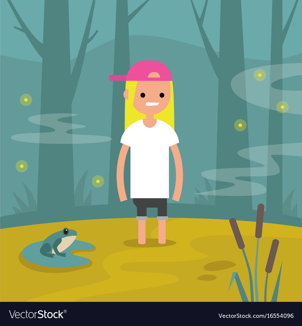Young female character stuck in the swamp flat