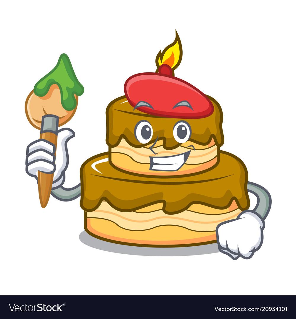 Peachy Artist Birthday Cake Character Cartoon Royalty Free Vector Personalised Birthday Cards Paralily Jamesorg