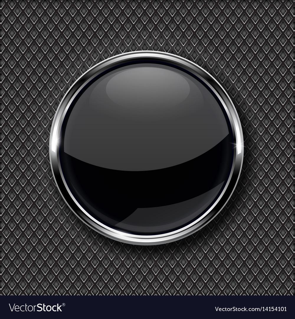 ba0456102e5 Black glass button with chrome frame on metal Vector Image