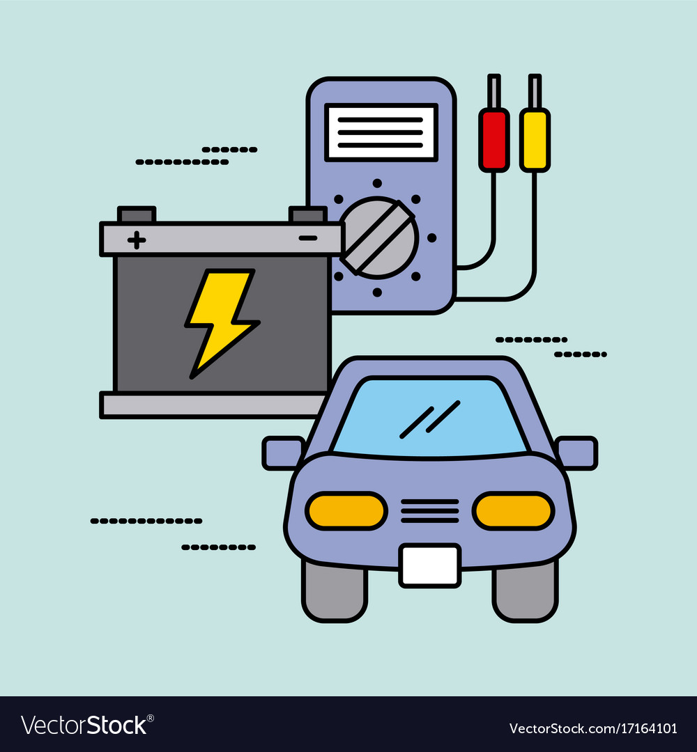 Car Service Battery Tester Electric Power Energy Vector Image Electrical Testers