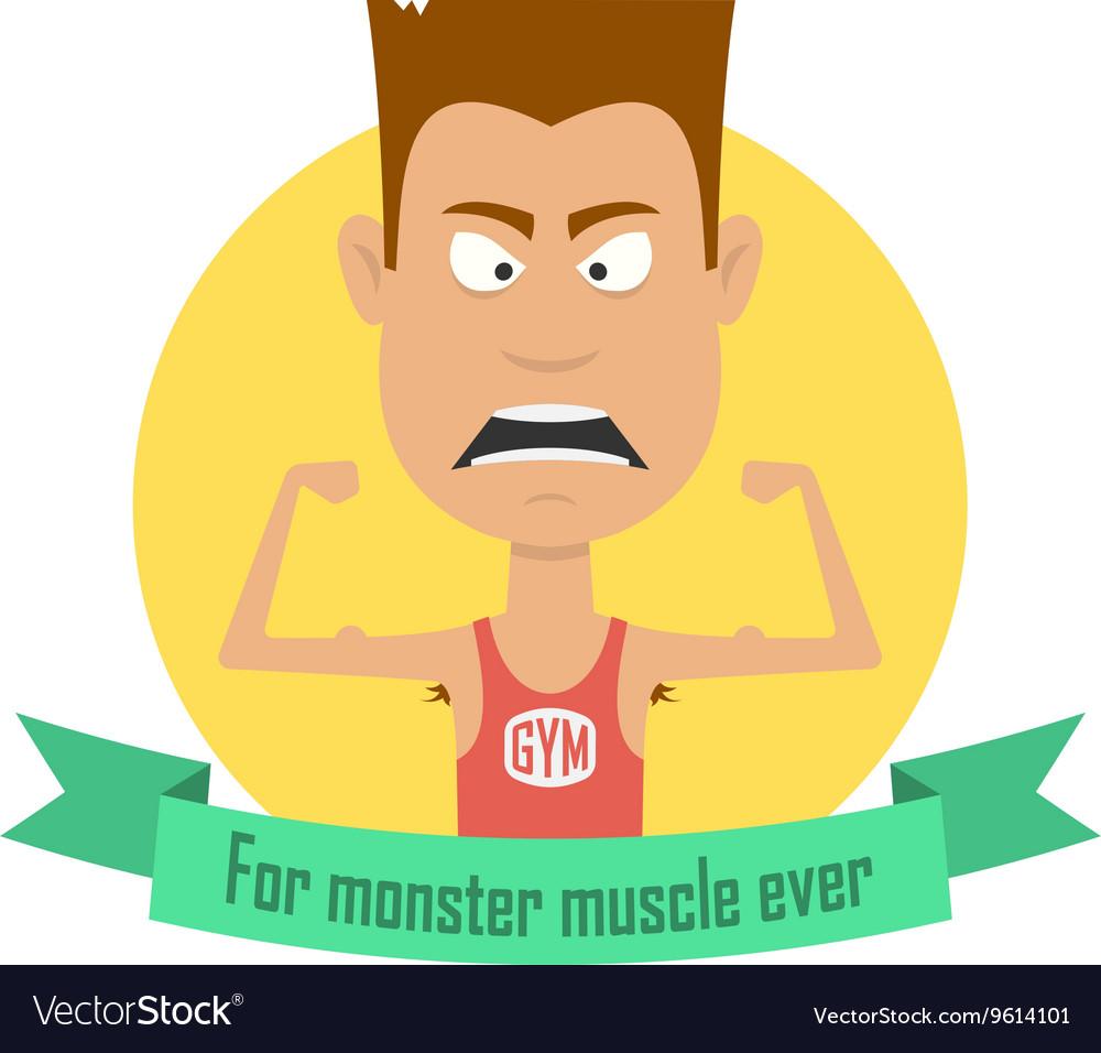 Cartoon bodybuilding men Gym fitness professional
