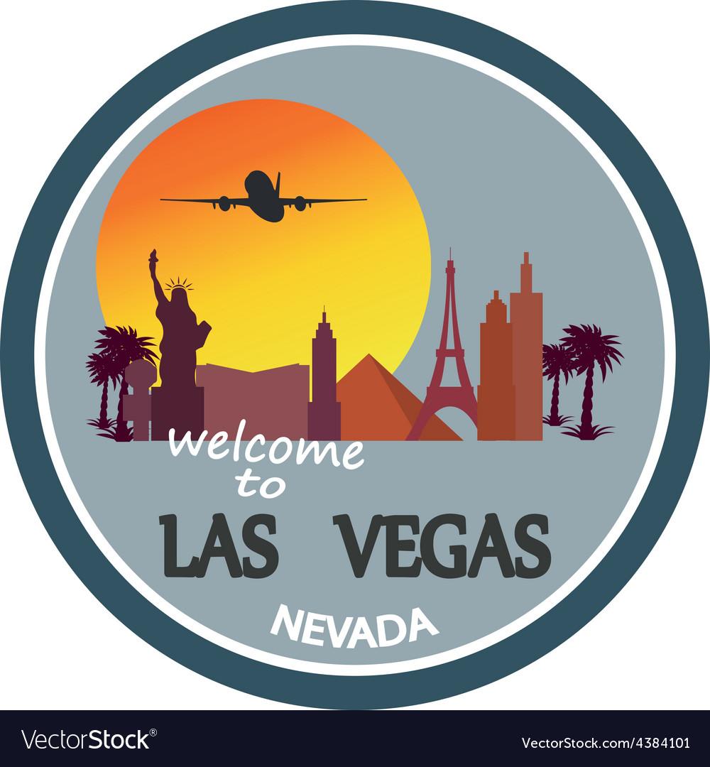Designed travel label Las Vegas vector image