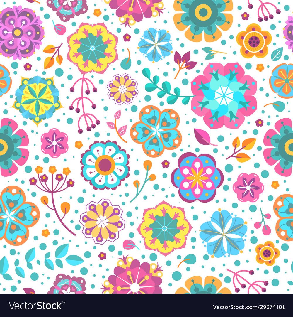 Flower seamless pattern blooming botanical motifs
