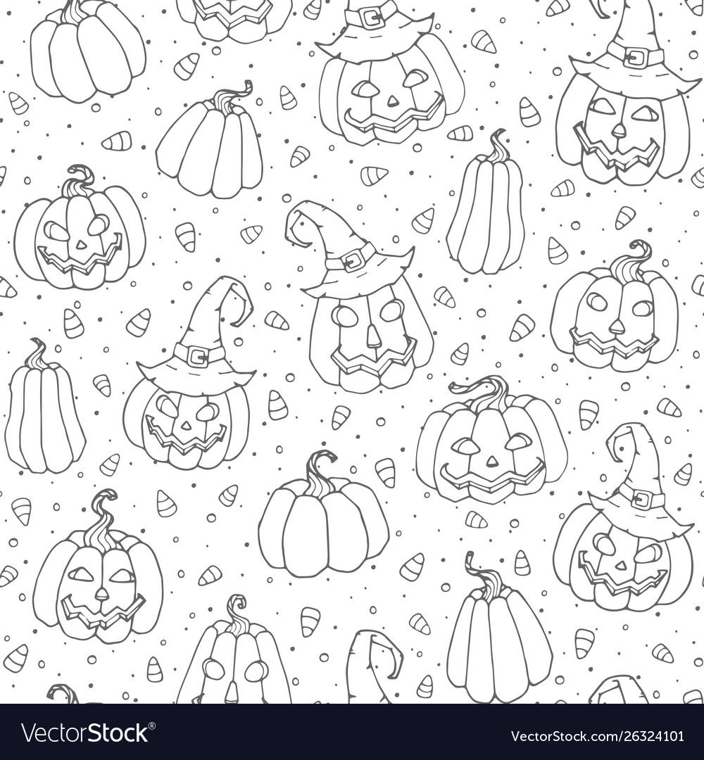Halloween seamless pattern with candy corns