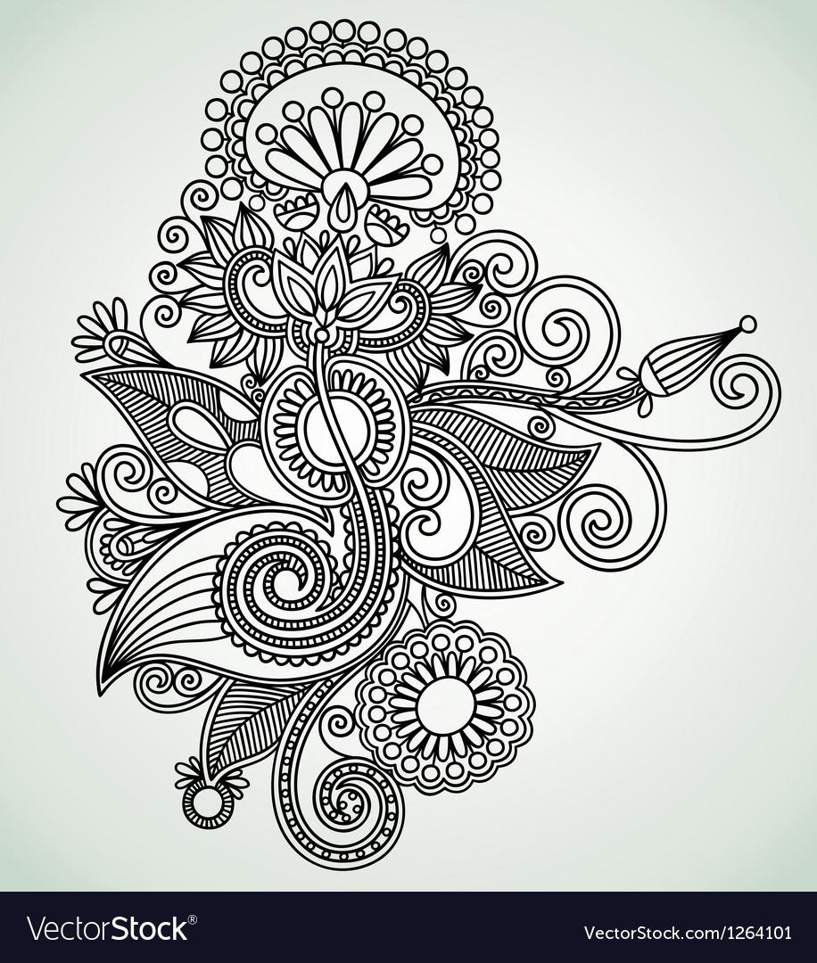 Hand draw line art ornate flower design Ukrainian