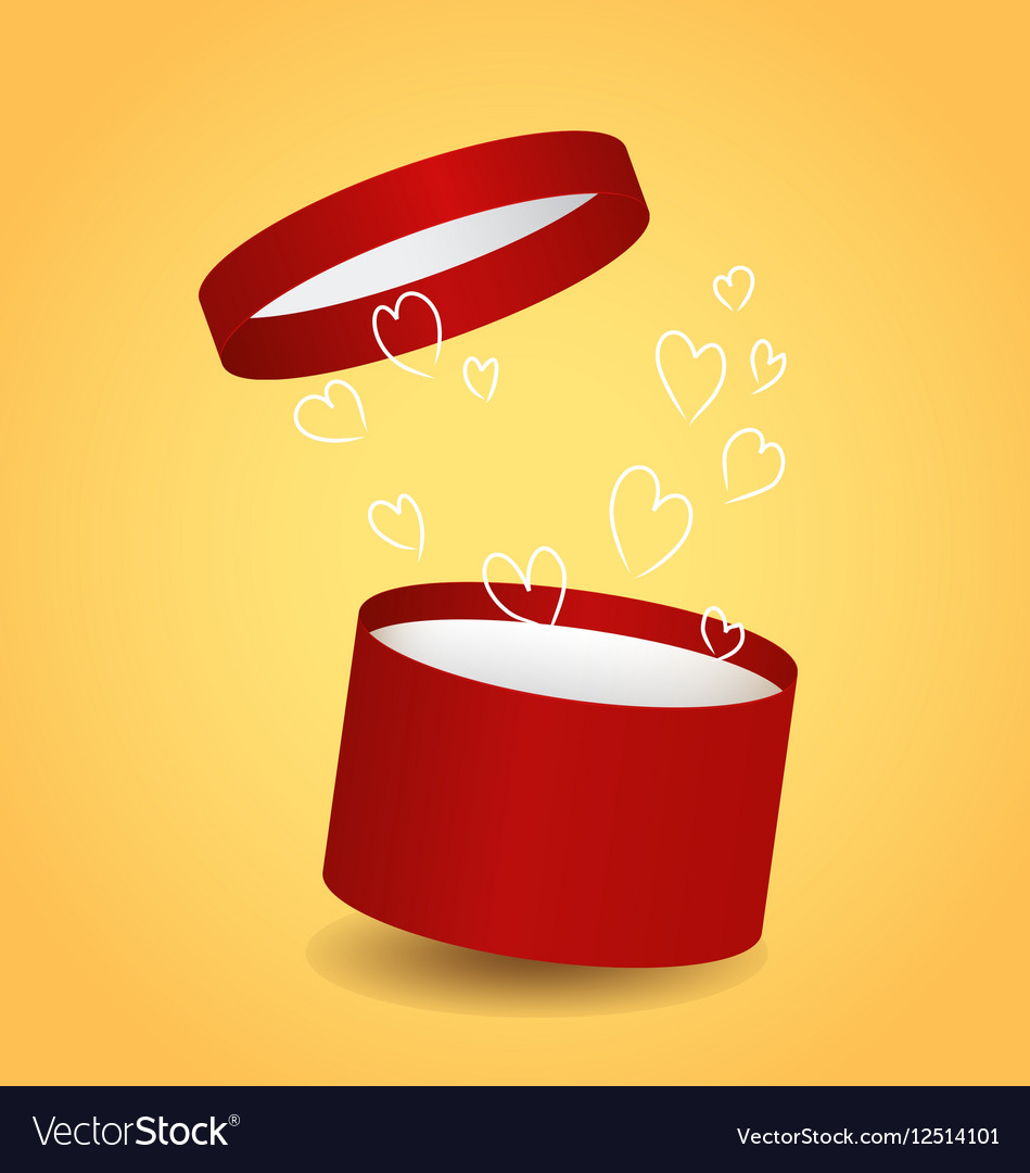 Isolated Round Red Decorative Gift Box With Drawn