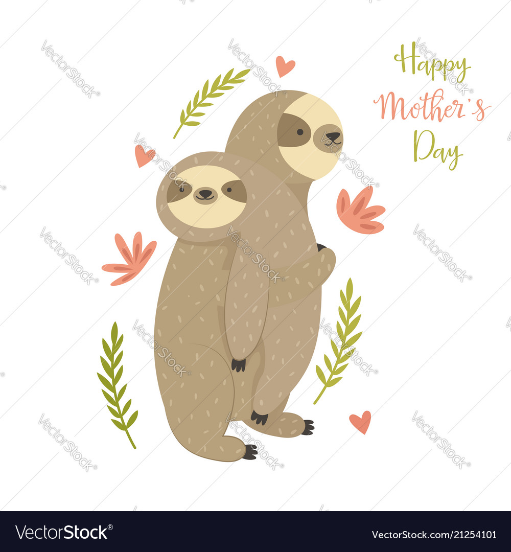 Mother sloth bearing her child greeting card