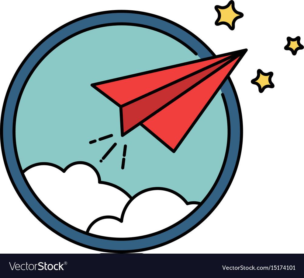 Paper airplane retro badge or icon freedom