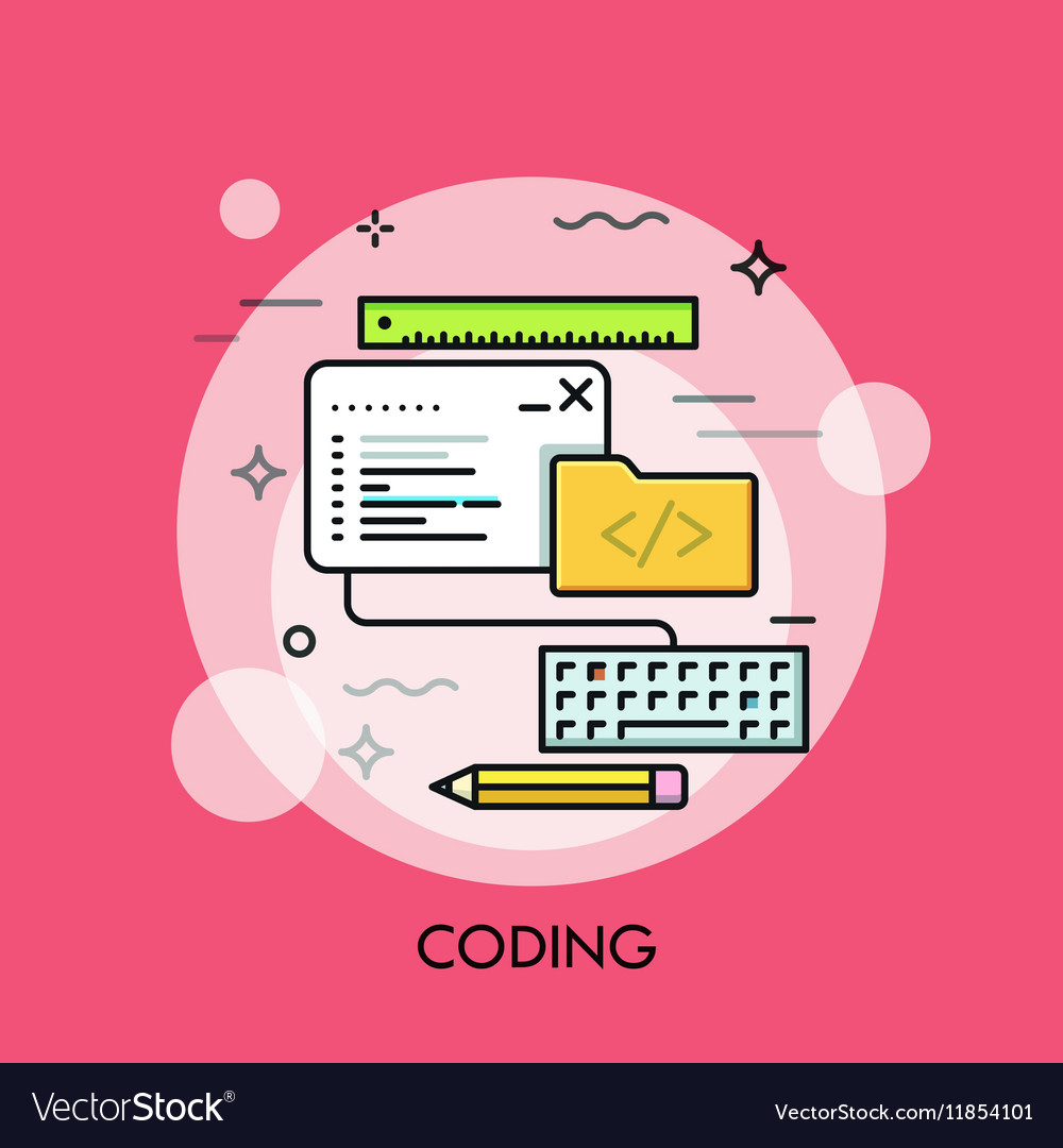 Program code window keyboard pencil ruler and