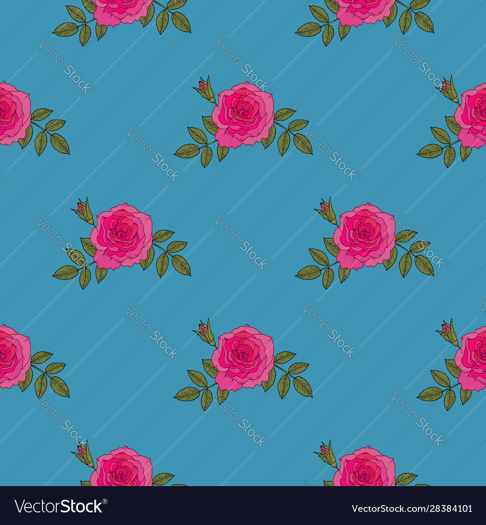 Red rose hand drawn seamless pattern on blue
