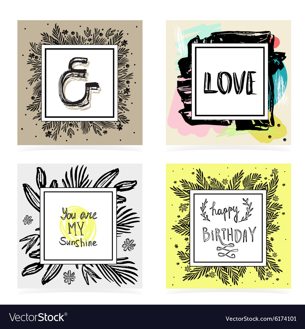 Set of hand lettering quotes