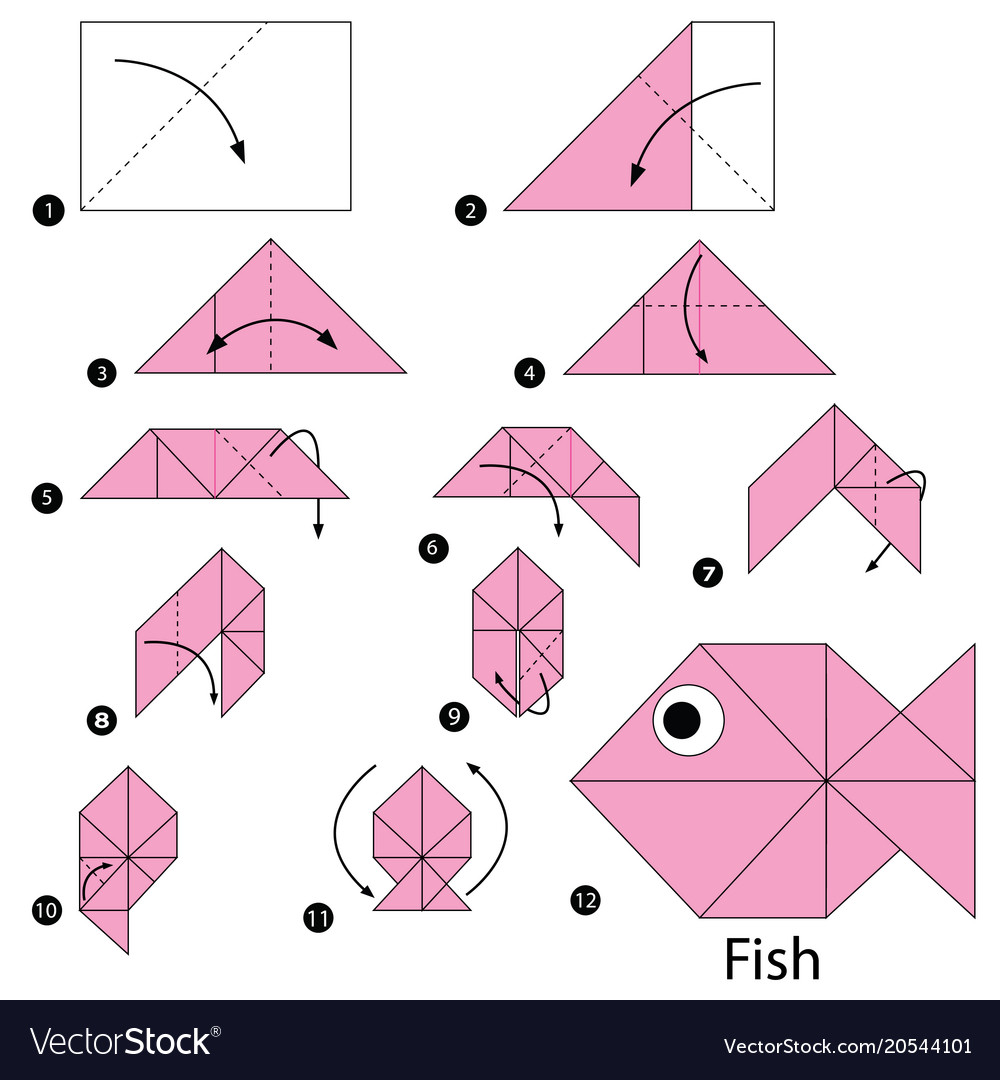 Step Instructions How To Make Origami A Fish Vector Image
