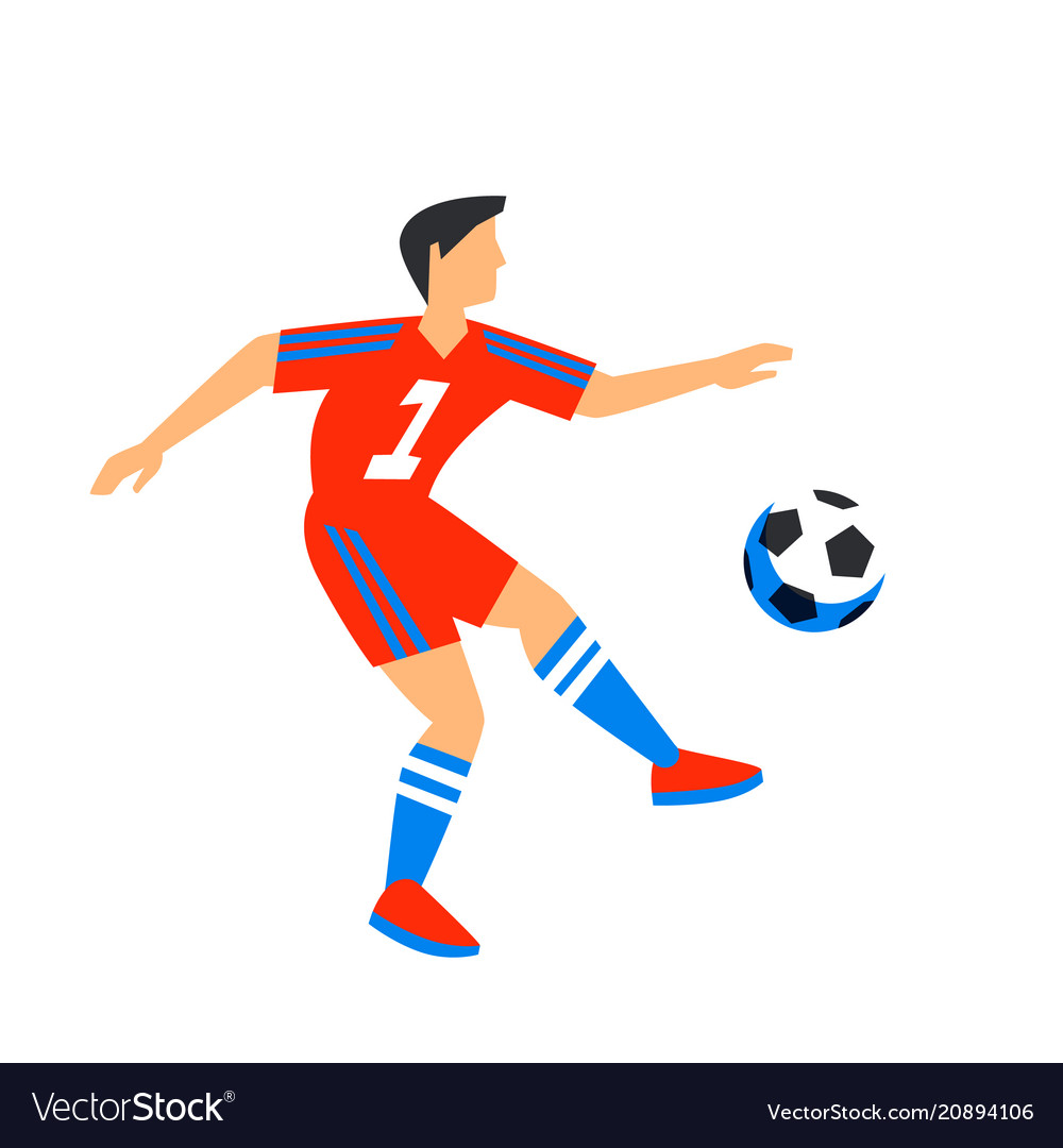 Abstract in red football player with ball soccer