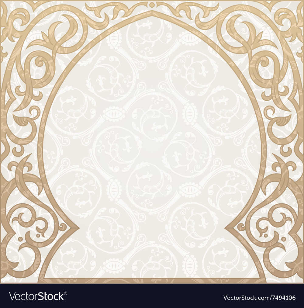 Arabic greeting background Arch Muslim vector image